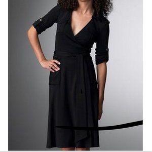 DVF Black Revolutionary Duenne Wrap Dress.  Sz 10